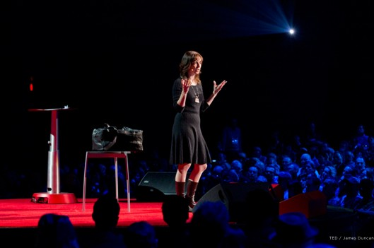 Susan Cain on the TED stage, talking about Quiet Revolution