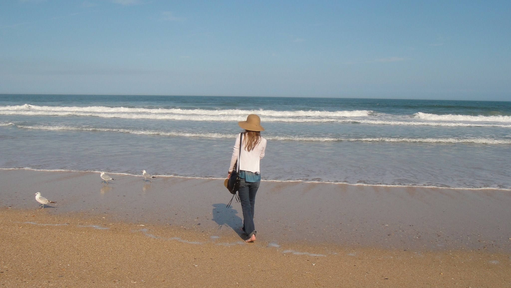 Author Priscilla Gilman on the beach