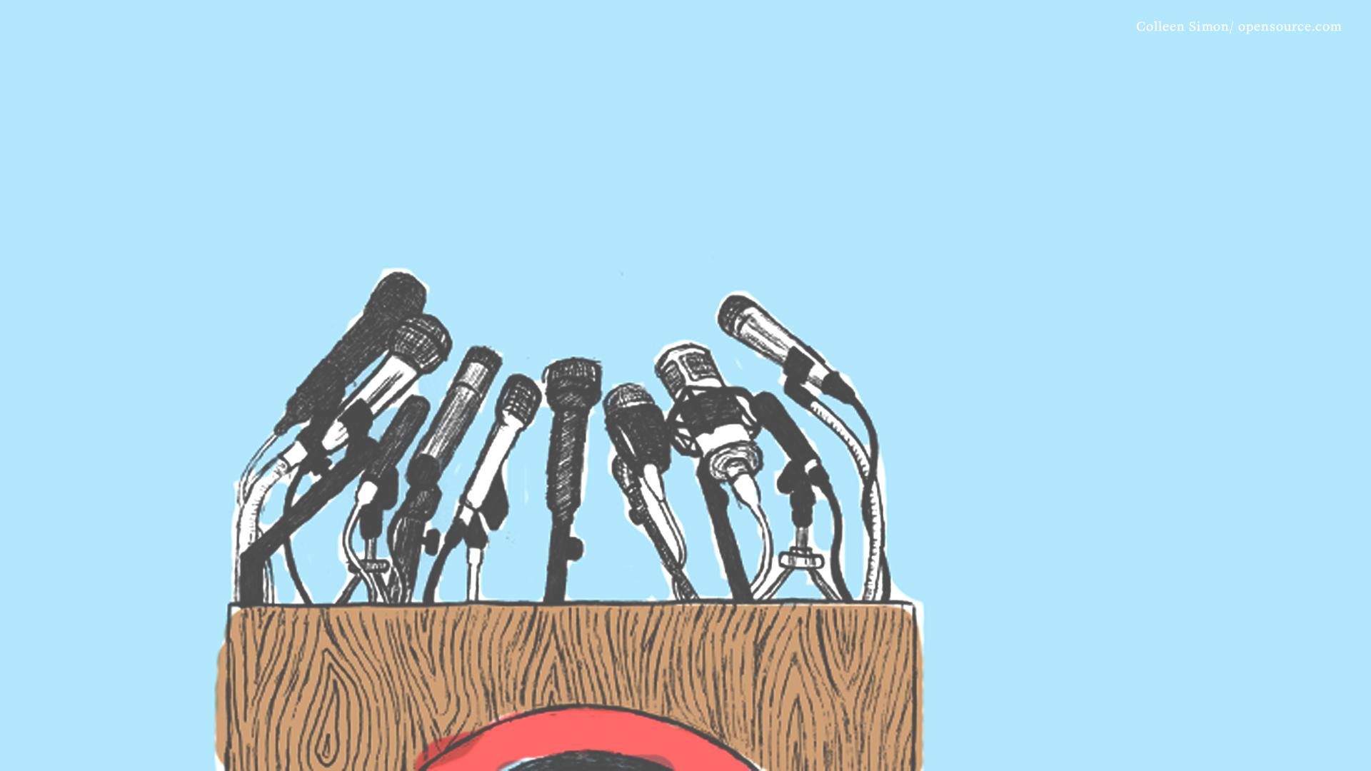 Illustration of podium with microphones