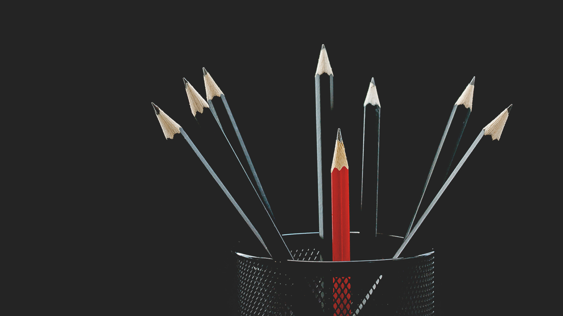 Red pencil amongst black pencils