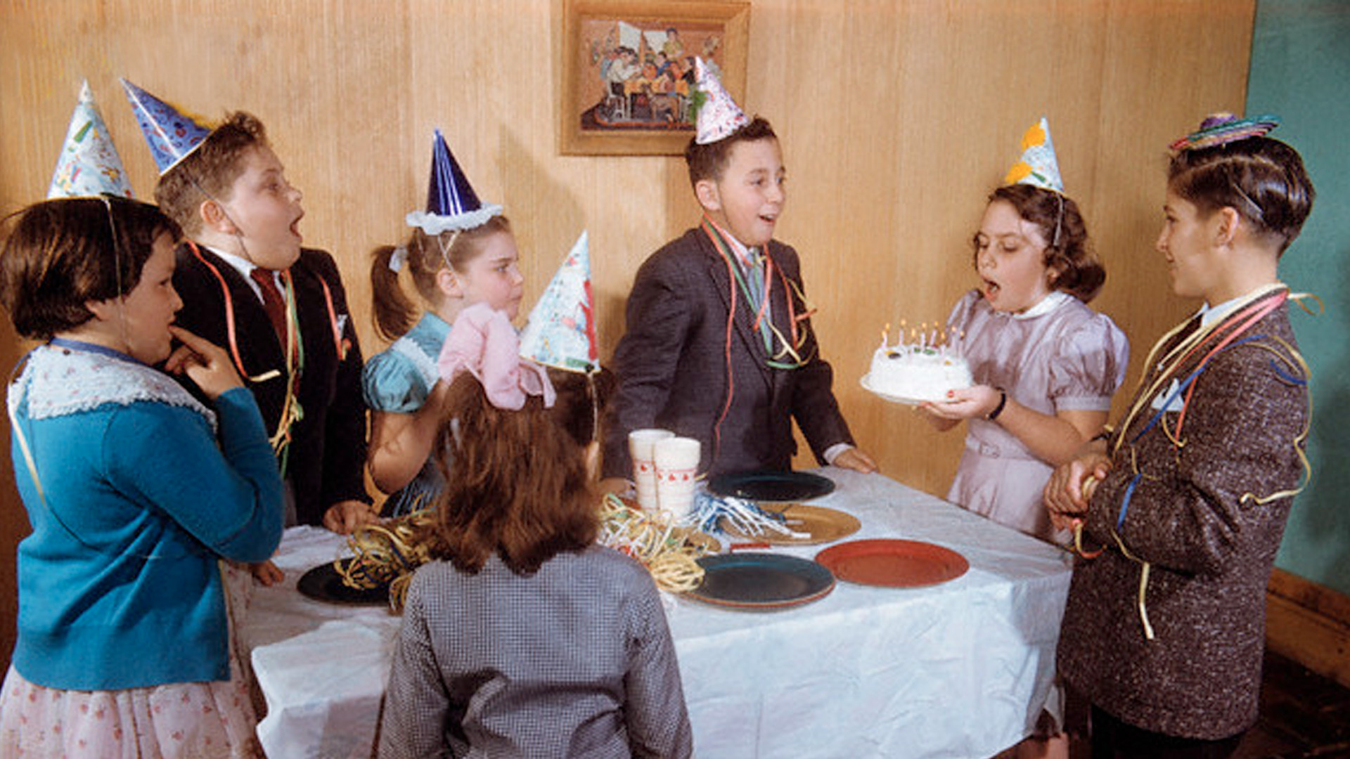 Vintage photo of kids at a birthday party