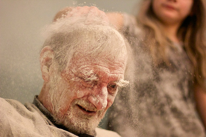 my father the introvert a photo essay girl rubbing flour into her grandfather s hair my father the introvert