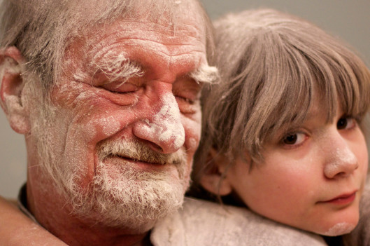 Girl and Grandfather Covered in Flour   My Father the Introvert: A Photo Essay