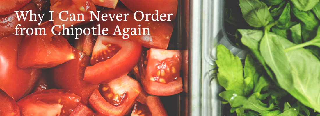 Takeout display of tomatoes, spinach, and arugula | Why I Can Never Order from Chipotle Again