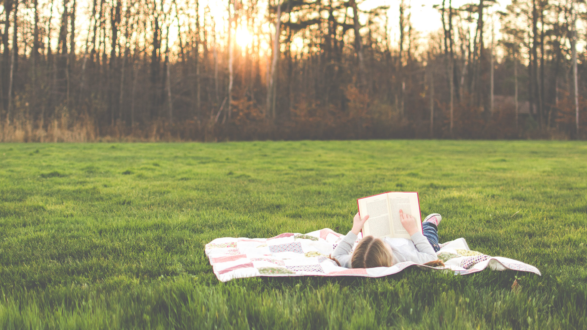 Girl reading book alone on the grass