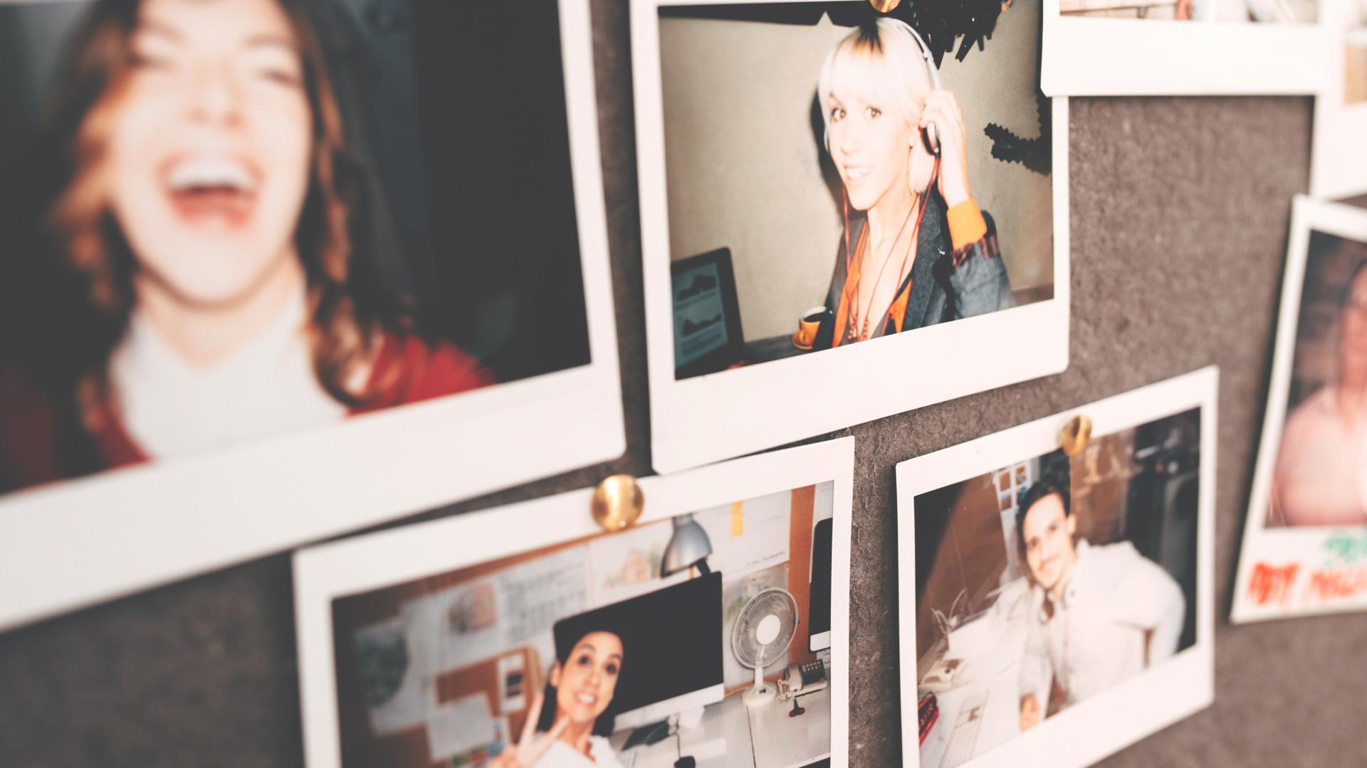 Instant Polaroids of business team portraits at work having fun