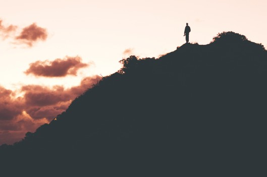 Person on top of a mountain