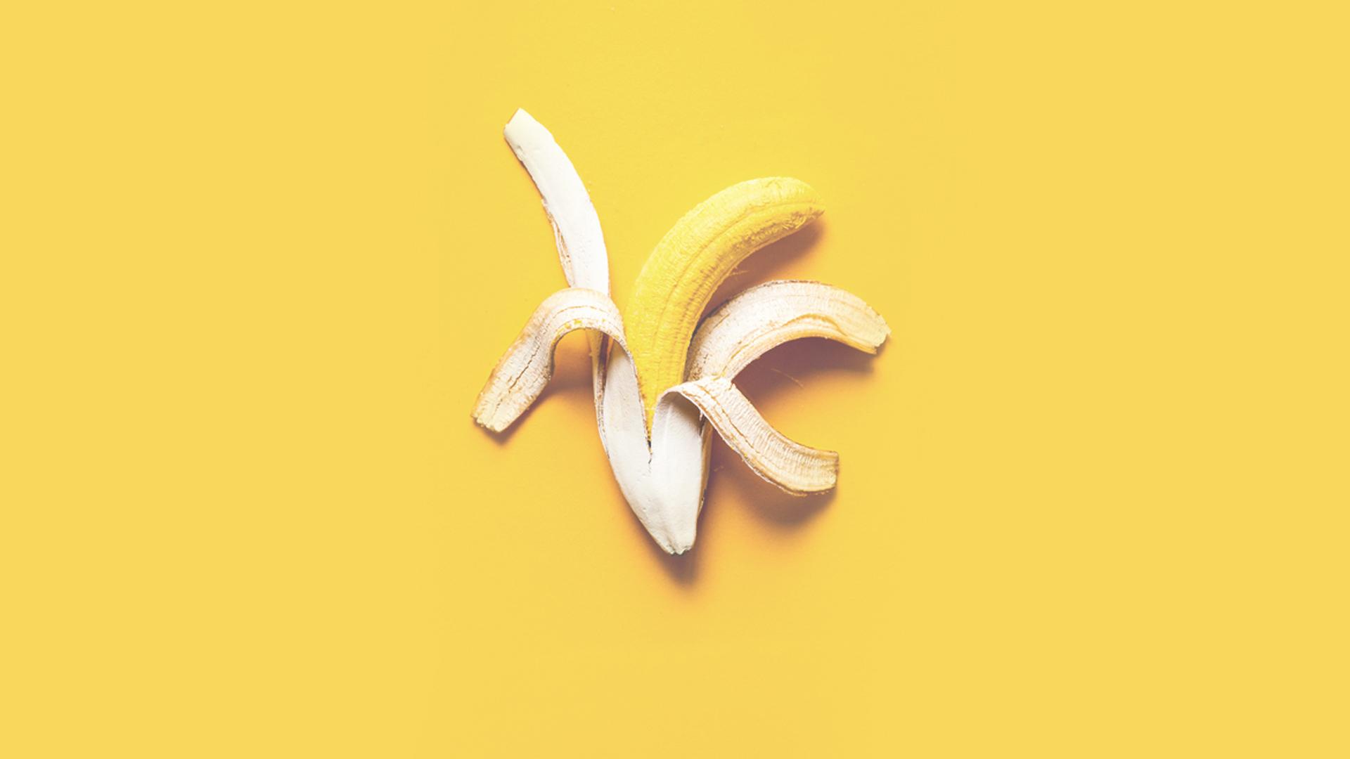 Yellow banana in white peel