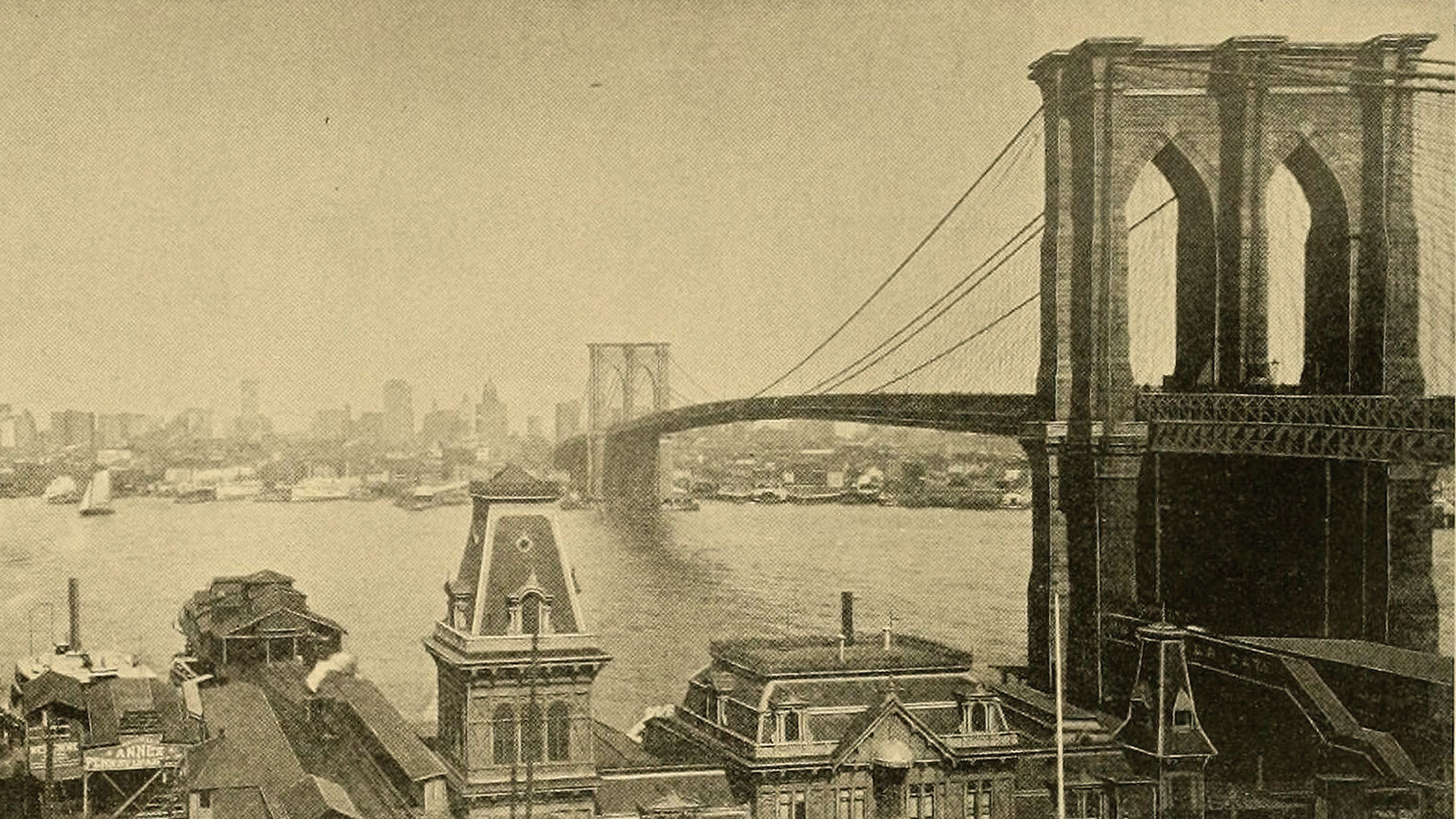 vintage photo of the brooklyn bridge