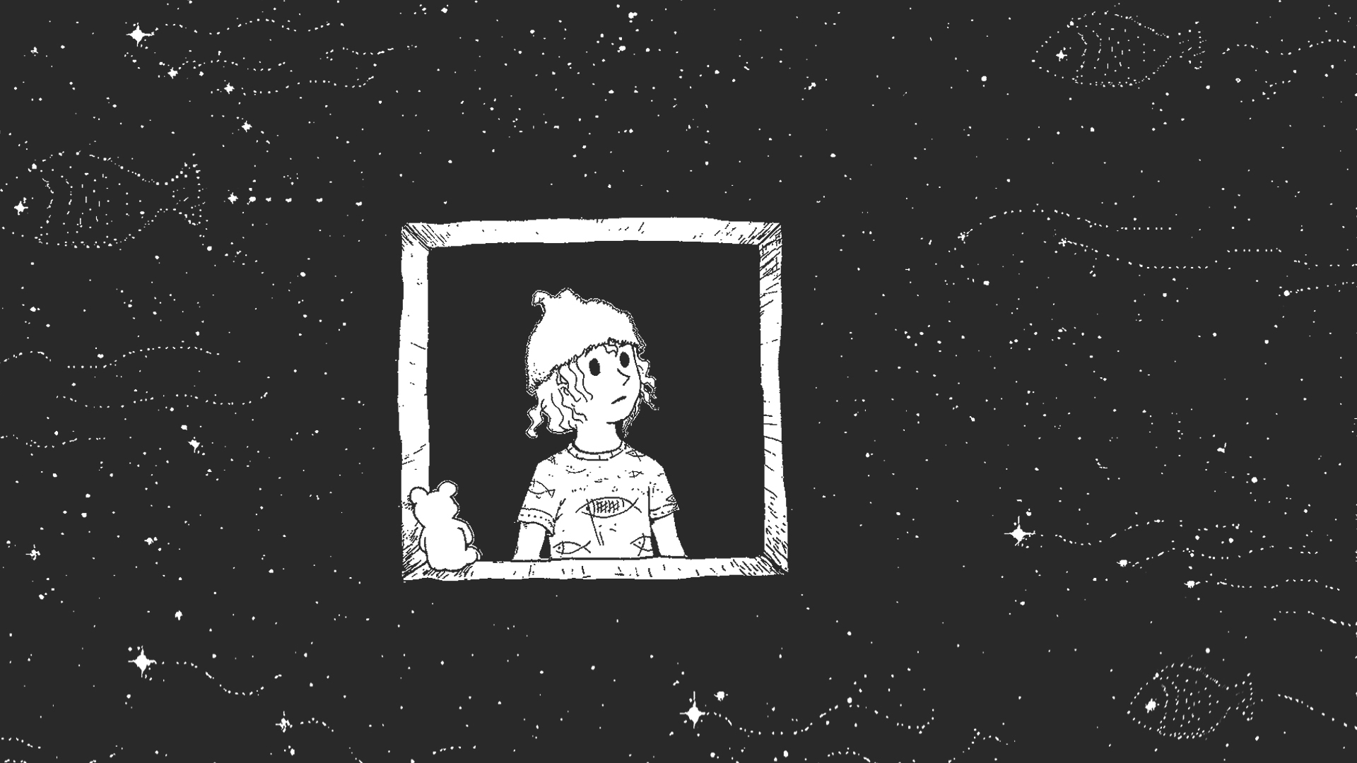 Illustration of boy looking out of window into space