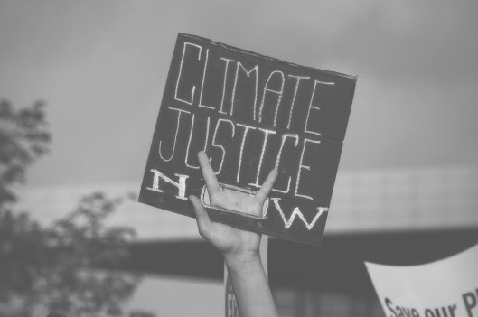 holding up climate protest sign