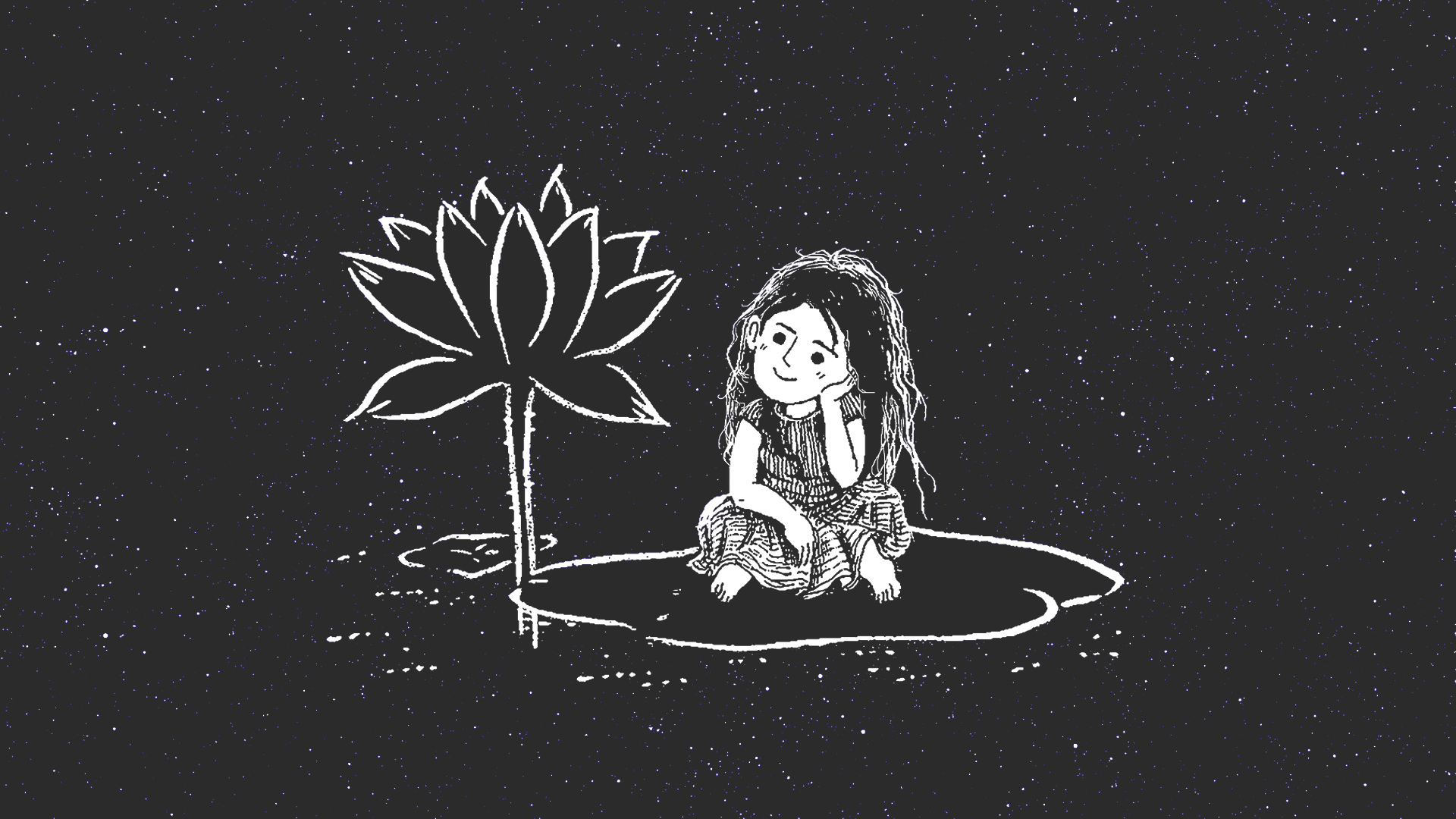 Illustrated girl sitting and looking at a flower