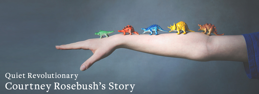 dinosaurs on arm | Quiet Revolutionary Courtney Rosebush's Story