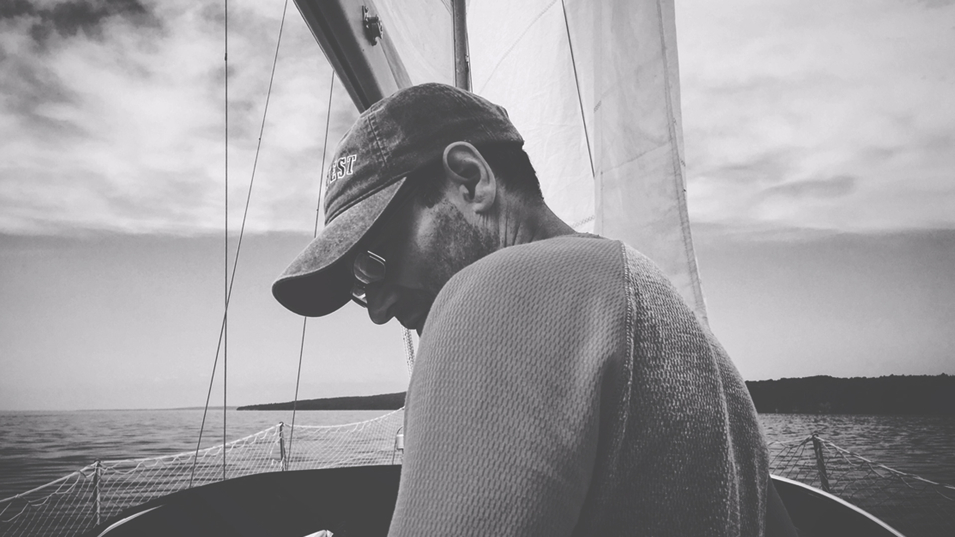 Man on sail boat