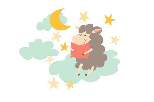 Sleeping sheep with pillow on night sky | How to Create Peaceful Sleep Rituals