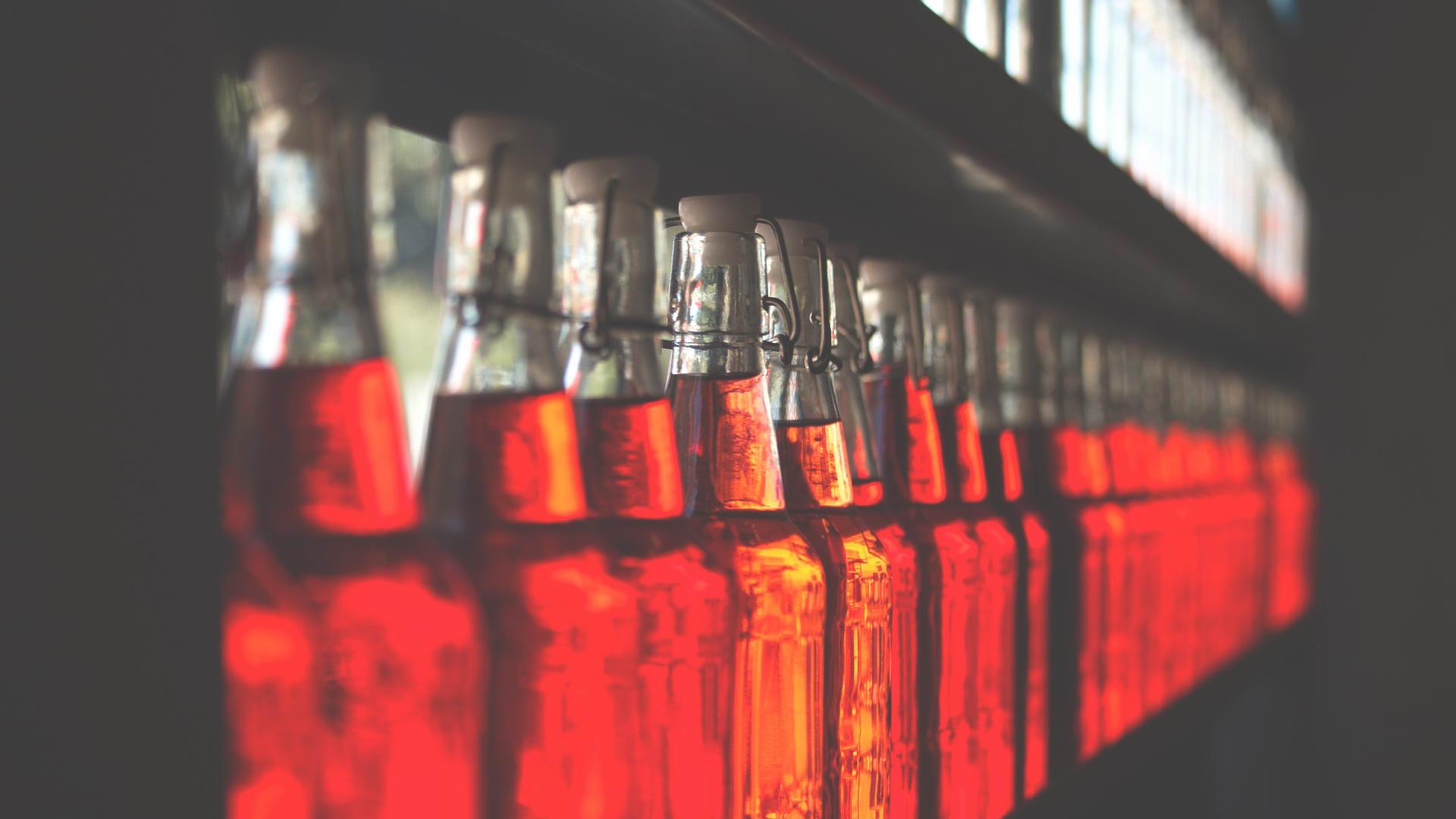 Red bottles