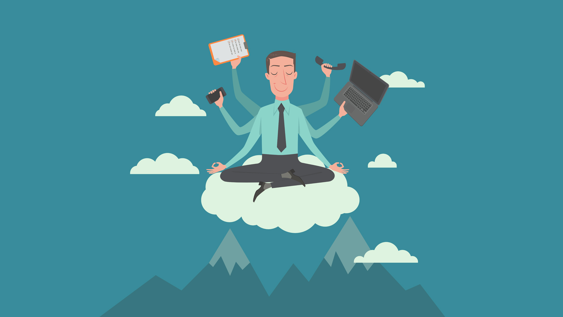 Businessman meditating in the sky