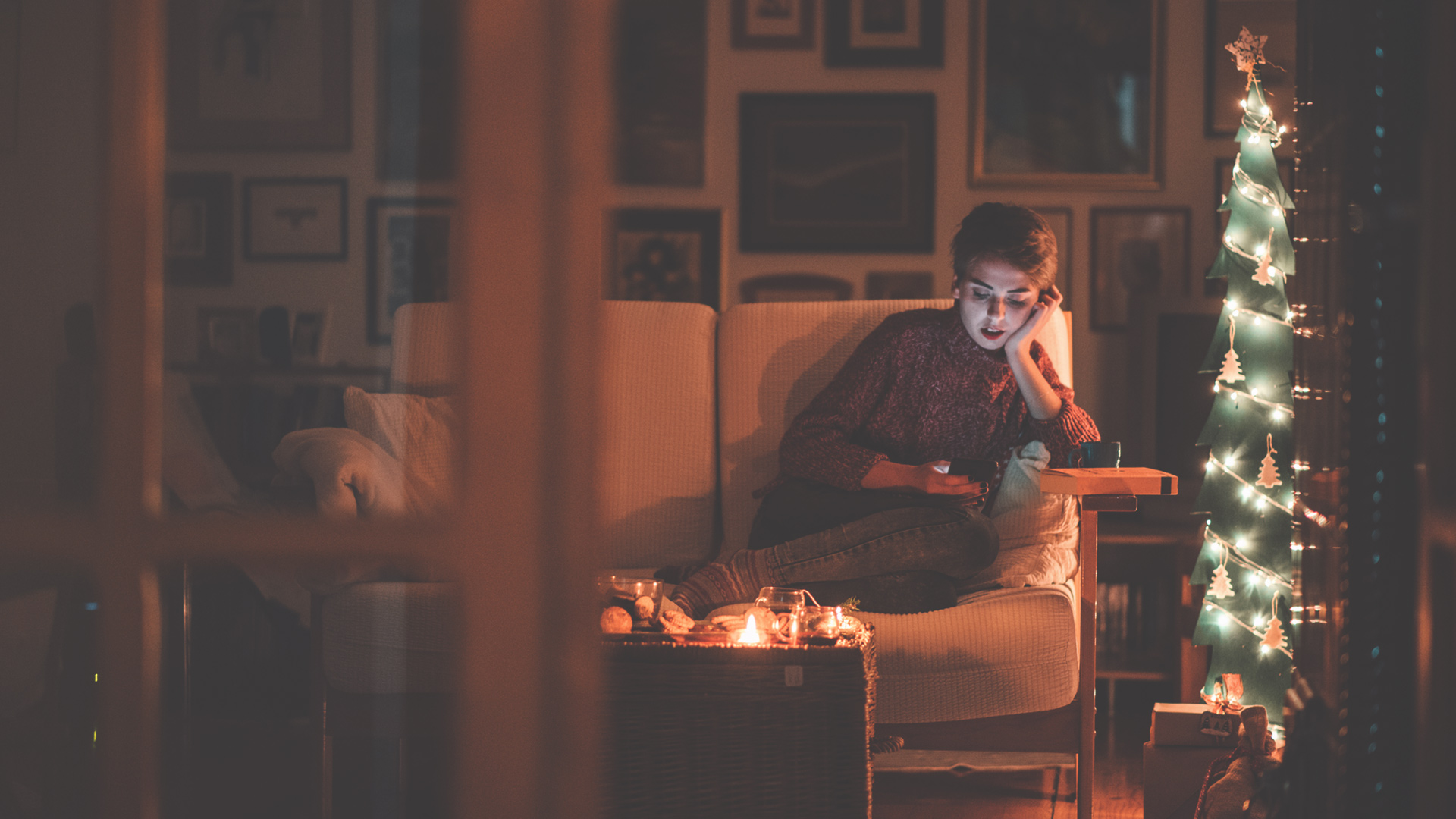 Woman spending time alone during the holidays