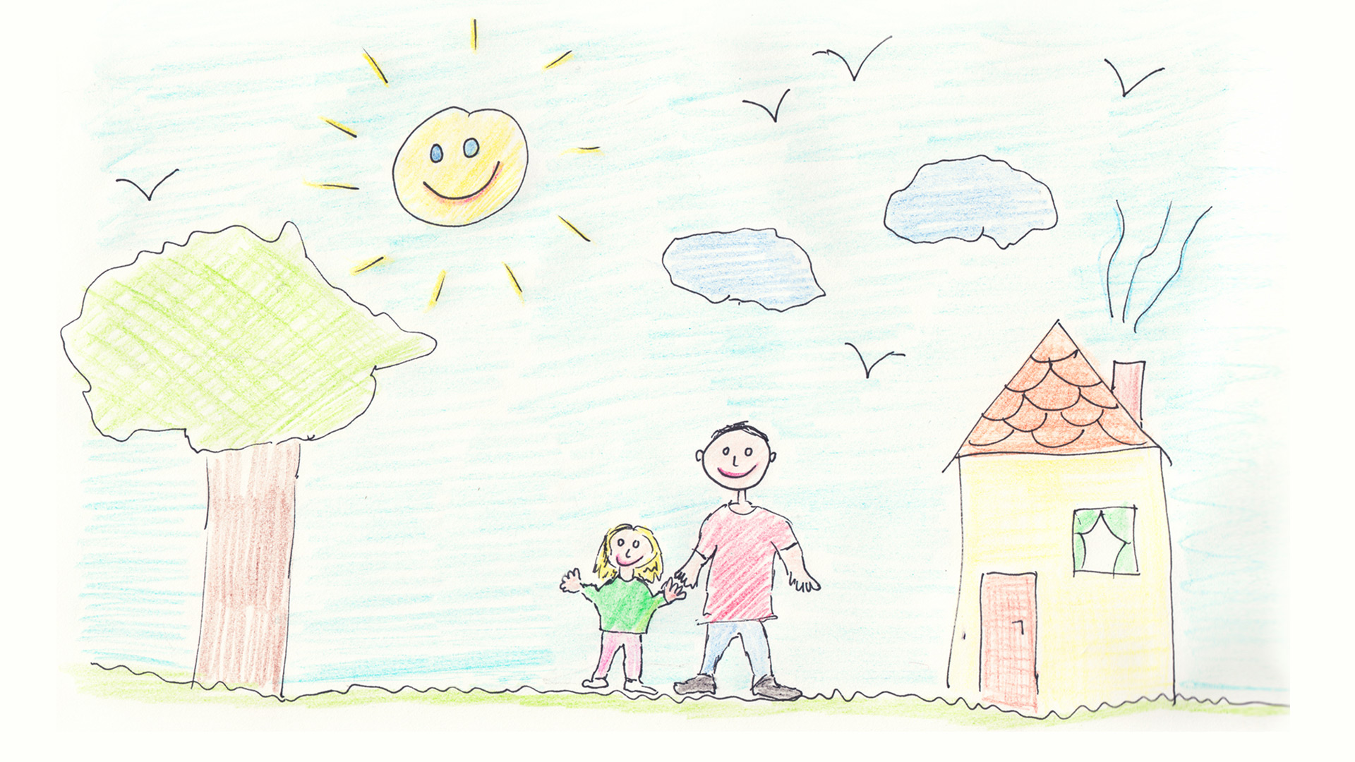 Child's drawing of daughter and father