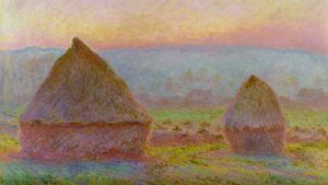 Grainstacks at Giverny; the Evening Sun, painting by Claude Monet