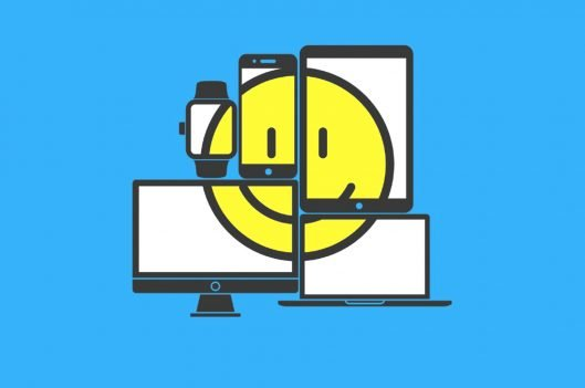 Smiley face across several mobile devices