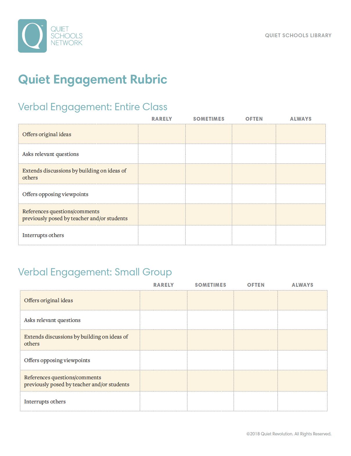Resources for Schools - Quiet Revolution
